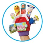 Put on the finger puppet and have fun with your child